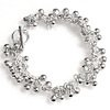Full Sterling Silver Beaded Charm Bracelet 21.5 gram ID # 5938