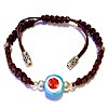 Turkish Macrame Leather Bracelet With Sterling Silver and Blue Evil Eye ID # 6654