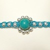Macrame Braided Bracelet with Turquoise and silver ID # 6699