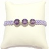 Macrame Braided Bracelet with Purple Cubic Zirconia and silver ID # 6700