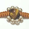 Macrame Braided Bracelet with Tiger Eye and silver ID # 6698