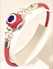 Turkish Leather Bracelet With Sterling Silver and Red Evil Eye ID # 6651