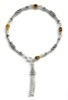 Sterling Silver Tiger Eye charm bracelet with tassel ID # 6621