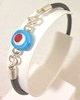 Turkish Leather Bracelet With Sterling Silver and Blue Evil Eye ID # 6652