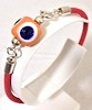 Turkish Leather Bracelet With Sterling Silver and Yellow Evil Eye ID # 6650