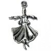 Sterling Silver Charm Pendant Whirling Dervish Mevlevide 30 mm 2 gram ID # 6372