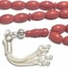 Red coral Islamic prayer beads 9 mm tasbih w/silver ID # 6285