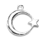 Sterling Silver Charm Pendant Crescent Star 13 mm 0.8 gram ID # 6938