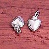 Lot of 2 Sterling Silver Charm Heart 1 cm 1.2 gram ID # 5782