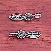 Lot of 2 Sterling Silver Charm Leaf 2 cm 1.2 gram ID # 5783