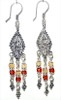 Sterling Silver Cubic Zirconia Chandelier Earrings 10 gram 7 cm ID # 6522