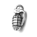 Sterling Silver Charm Pendant Bomb 14 mm 1.43 gram ID # 6944