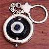 Turkish Sterling Silver Authentic Glass Evil Eye Keychain Keyring ID # 4236