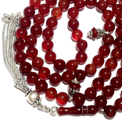 Islamic Prayer Beads 99 Tasbih Agate 8 mm w/ silver tassel