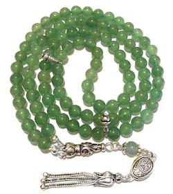 Islamic Prayer Beads 99 Namaz Tasbih Glossy Tiger's Eye 6 mm w/ silver