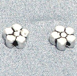 Sterling Silver Bead Flat 7 mm 1.7 gram