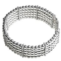Full Sterling Silver Beaded Cuff Bracelet 38 gram