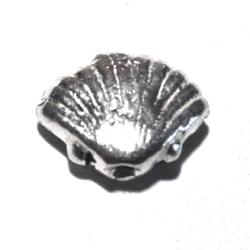 Sterling Silver Shell Bead Charm 12 mm 2 gram