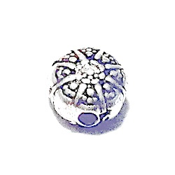 Sterling Silver Patterned Bead Charm 7 mm 1.7 gram