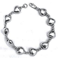 Full Sterling Silver Link Bracelet Heart 17.4 gram