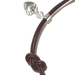Sterling Silver Tiny Charm Bracelet on Leather Love