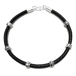 Sterling Silver Thematic Charm Bracelet on Leather Hearts