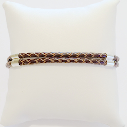 Double cord braided leather bracelet with sterling silver 3 mm