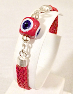 Turkish Braided Leather Bracelet With Sterling Silver and Red Evil Eye