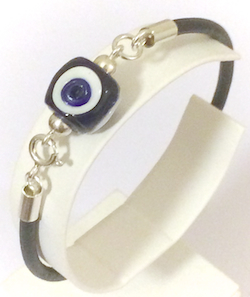 Turkish Leather Bracelet With Sterling Silver and Blue Evil Eye