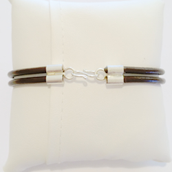 Double cord leather bracelet with sterling silver 3 mm