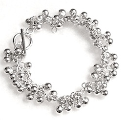 Full Sterling Silver Beaded Charm Bracelet 21.5 gram