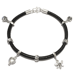 Sterling Silver Thematic Charm Bracelet on Leather Love