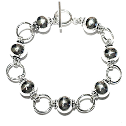 Full Sterling Silver Beaded Link Bracelet 20 gram
