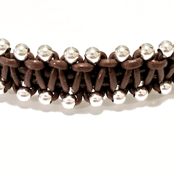 Macrame Braided Leather Bracelet Sterling Silver Beads