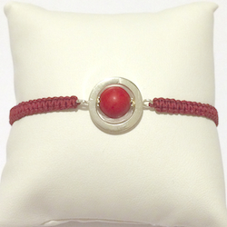 Macrame Braided Bracelet with Sterling Silver and Coral