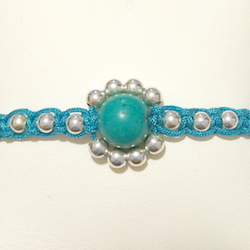 Macrame Braided Bracelet with Turquoise and silver