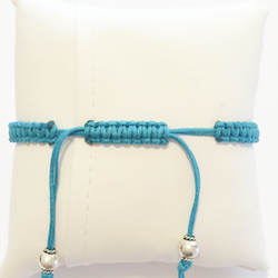 Macrame Braided Bracelet with Sterling Silver Charm Fish