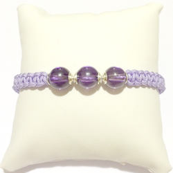 Macrame Braided Bracelet with Purple Cubic Zirconia and silver