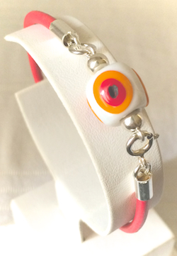 Turkish Leather Bracelet With Sterling Silver and Orange Evil Eye