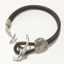 Turkish Leather Bracelet with Sterling Silver Anchor Navy Naval
