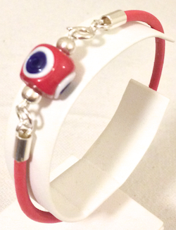 Turkish Leather Bracelet With Sterling Silver and Red Evil Eye