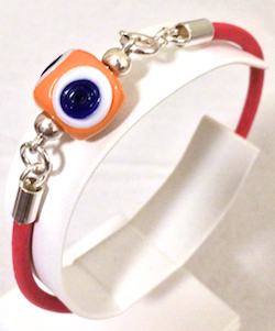 Turkish Leather Bracelet With Sterling Silver and Yellow Evil Eye
