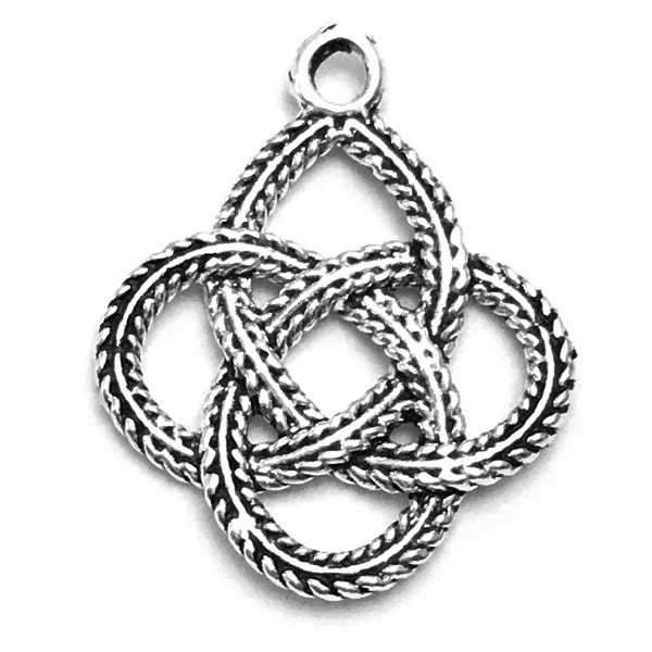 Sterling Silver Charm Pendant Celtic Braid 19 mm 1 gram