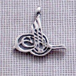 Sterling Silver Charm Pendant Tughra 17 mm 1.6 gram
