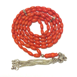 Islamic prayer beads 99 tasbih red coral sterling silver