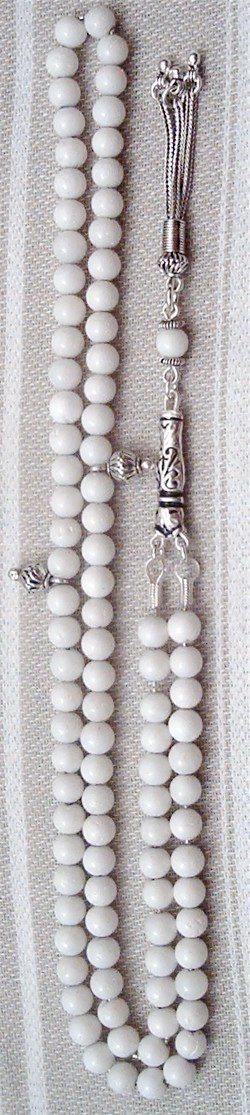 White Coral Islamic Prayer Beads Tasbih 99 Tiny w/silver