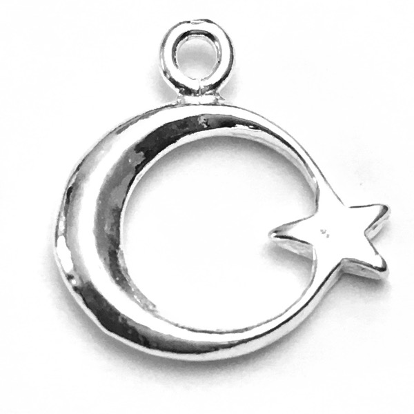 Sterling Silver Charm Pendant Crescent Star 17 mm 1.25 gram