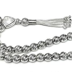 Islamic Prayer Beads Full Silver Tasbih faceted 8 mm 22 gram