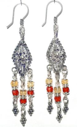 Sterling Silver Cubic Zirconia Chandelier Earrings 9.6 gr 7 cm