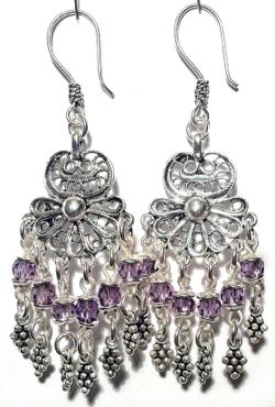Sterling Silver Cubic Zirconia Chandelier Earrings 12 gr 65 mm